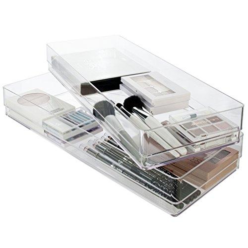 Break-Resistant Plastic Drawer Organizers 15 x 6 x 2 l Set of 2