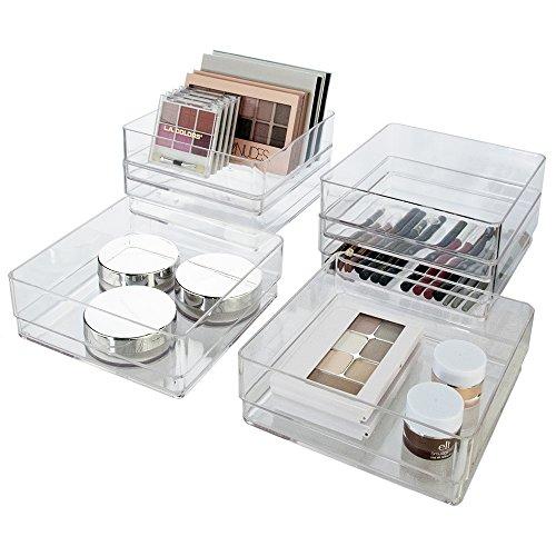 Break-Resistant Plastic Drawer Organizers 6 x 6 x 2 l Set of 6