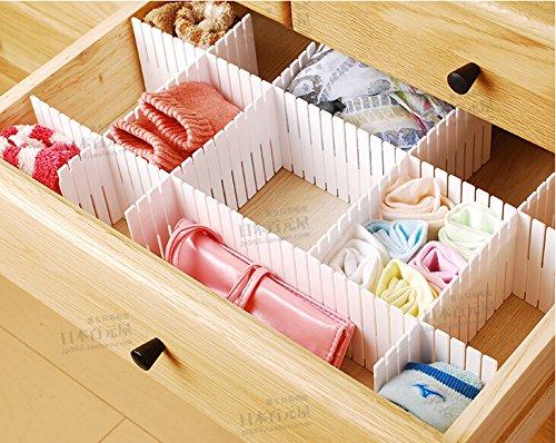 Duroetui Adjustable Plastic Drawer Closet Grid Divider Tidy Organizer Container Home Storage 45cm X 10cm  18 X 4  White