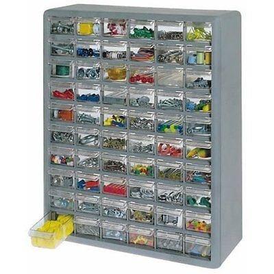STORAGE ORGANIZER CABINET 60 PLASTIC DRAWER BOXES PARTS CONTAINER BIN TOY GARAGE - US