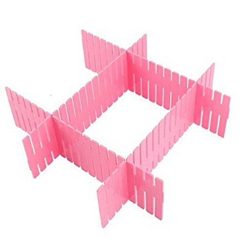 Woreach DIY Grid Plastic Drawer Wardrobe Sock Tie Pants Divider - 8Pcs Drawer Divider Seperator Storage Organizer Pink