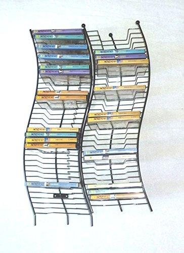 Artisan Modern Wave Metal 2 x 35 Disc DVDBluRay Storage Rack - Wall Mount ONLY Base Sold Separately