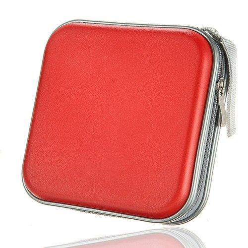 Hard CD DVD Storage Holder Case for 40 Discs Durable Travel Organizer Red