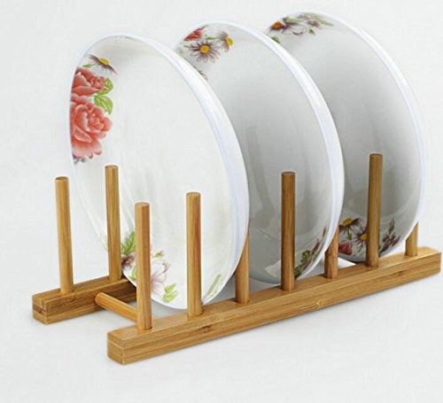 Bamboo Plate RackPot Lid Holder dish drying rack