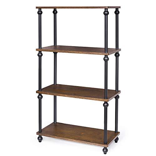 4-Shelf Shelving Storage Unit Metal Storage shelves Rack Vintage Bookshelf for Living Room Bedroom Kitchen Dark Walnut