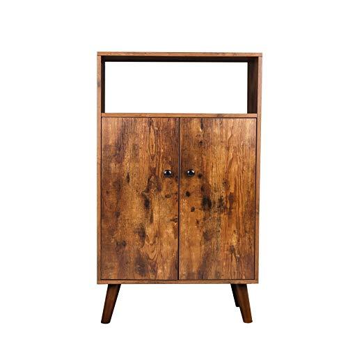 HOOBRO Storage Cabinet 2-Tier Bookcase with Doors Display Shelf Storage Unit in Living Room Study Room Entryway Wood Look Accent Furniture Rustic Brown