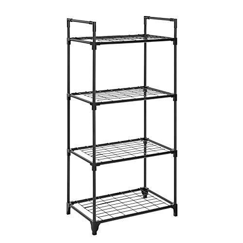 SONGMICS 4-Shelf Shelving Storage Unit Storage Rack Metal Wire Shelving Mesh Storage Organizer Holds up to 176 lb per Shelf for Kitchen Office Garage 217 x 138 x 484 Inches Black ULST04BK