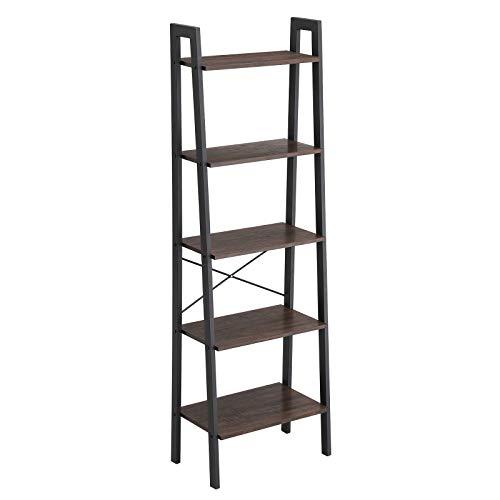 VASAGLE Industrial Ladder Shelf 5-Tier Bookcase Storage Unit with Metal Frame for Living Room Kitchen Rustic Dark Brown