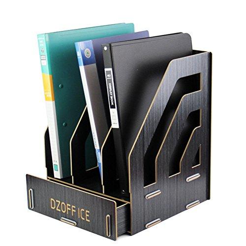 Oak-Pine Detachable Wooden Grain Design Office Desk A4 File Rack Desktop DIY Organizer Shelf Magazine Book Storage Box Case Holder Document Tray with Drawer Black