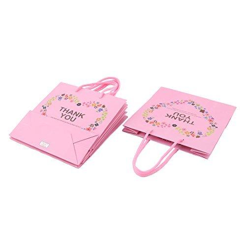 DealMux Paper Square Shaped Heart Flower Pattern Festival Gift Ornament Bags Holder 4pcs Pink