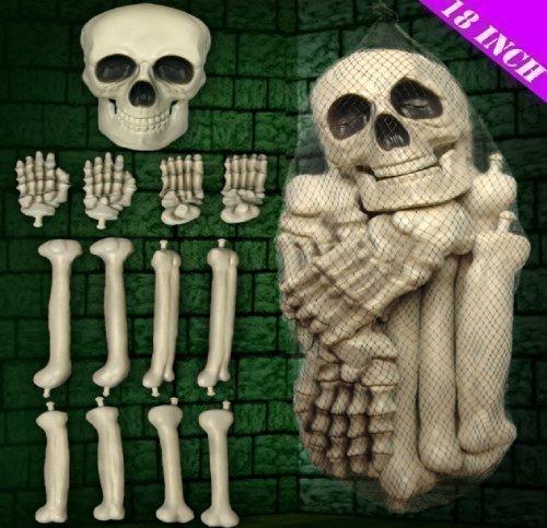 HALLOWEEN PARTY LARGE PLASTIC CORPSE SKELETON BONES SKULL DECORATION PROP ORNAMENT BAG by Halloween