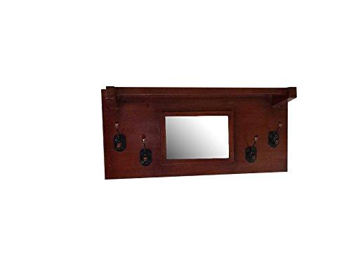 Urnporium Solid Mahogany Wood Wall Mounted Mirror Coat Rack 4 mAh
