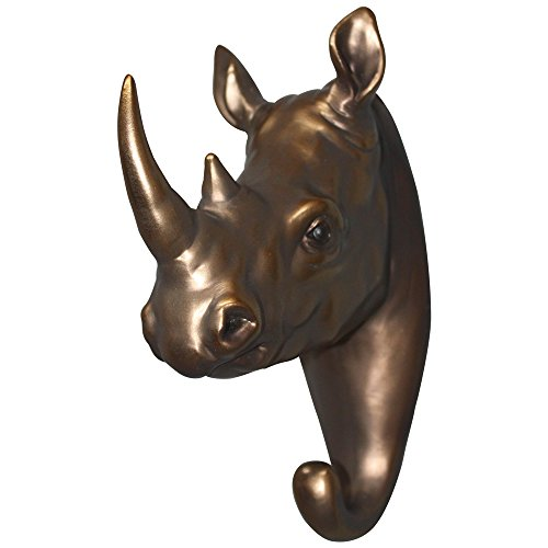 Comfy Hour 8 Brown Copper Rhinoceros Head Single Coat Hook Clothes Rack Decorative Wall Hanger
