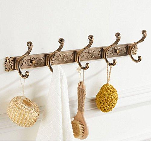 ZAIG European-Style Coat Hooks Coat Hook Towel Rack Rear Door Clothes Hooks Towel Rack Continental Antique Row Hook Hook Creative Space Aluminum Hook