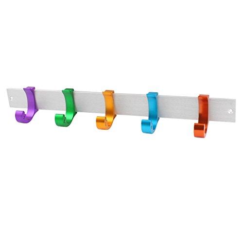 Multicolor Adjustable 5 Hangers Towel Hat Coat Clothes Wall Hook Rack