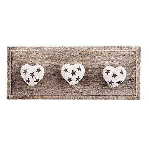 Silver Star Heart Ceramic Wooden Wall Hanging Hook Hanger Key Holder
