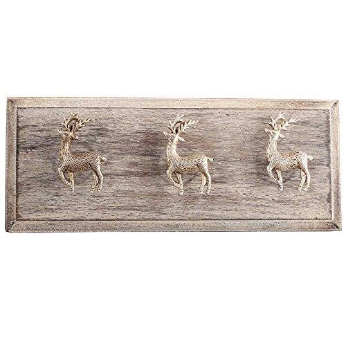 Silver Swamp Deer Brass Wooden Wall Hooks Coat Key Cloth Hanging Hanger WHK-1162-RAK-101