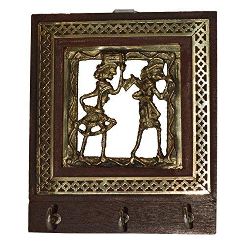 Bastar Design Wooden Key holder  Dokra Art Key Hanger  Wooden Key Hanger