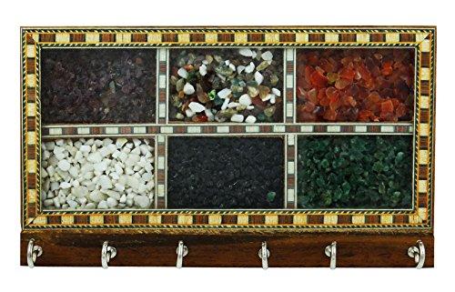 Decorative Gemstone Chips Wooden Key Hanger Holder Wall Home Decor