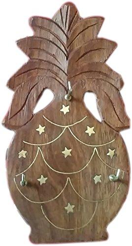 MAITHIL ART Wooden Key Hanger - Pine Apple With Brass Work