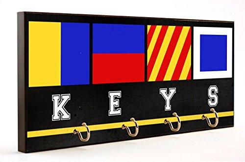 Nautical Flag Letters Keys wooden Key Hanger
