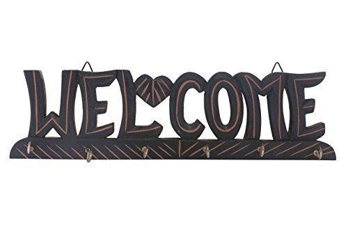 PMK Wooden Key Holder Welcome Design Black Color Key Hangers Used for Gift to loved ones