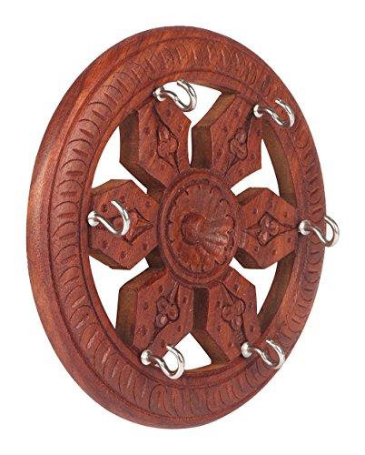 RGRANDSONS Handmade Wooden Key Hanger Holder Wall Decor Wheel Round Carving 5 Inch