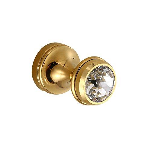 YUTU SJG21 2-Piece Antique Brass&Crystal Gold Polished Coat Hook Wall Mounted Towel Hook Bathroom Accessories