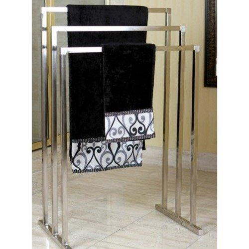 Pedestal Satin Nickel 3-tier Iron Towel Rack Clothing and Towels Hanger Storage Organizer
