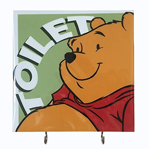 Agility Bathroom Wall Hanger Hat Bag Key Adhesive Wood 2 Hooks Vintage Green Winnie the Pooh Toilets Photo