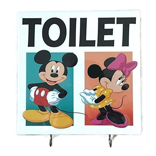 Agility Bathroom Wall Hanger Hat Bag Key Adhesive Wood 2 Hooks Vintage Mickey Mouse Minnie Mouse Toilets Photo