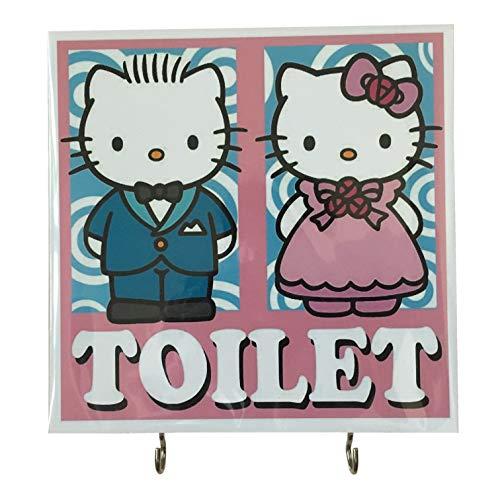 Agility Bathroom Wall Hanger Hat Bag Key Adhesive Wood 2 Hooks Vintage Pink Hello Kitty Boy Girl Toilets Photo