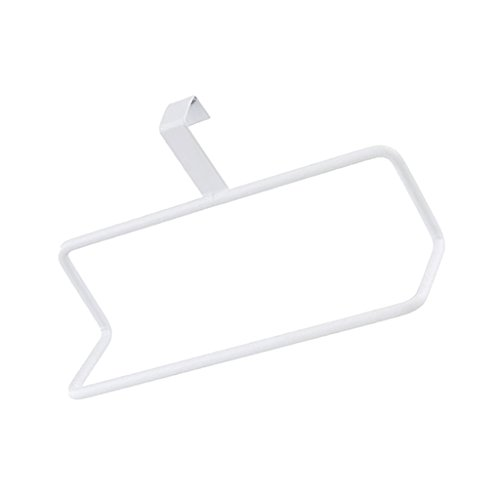 Iron Over Door Towel Rack Bar Holders for Universal Fit on Cabinet Cupboard Doors 2 Color to Choose 187x6x103cm - White