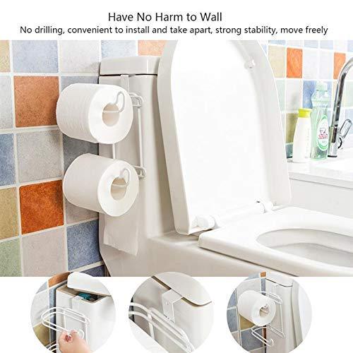 Paper Holder Metal 2 Layers Toilet Roll Paper Hooks Shelf Bathroom Hanging Organizer Kitchen Cupboard Door Towel Holder