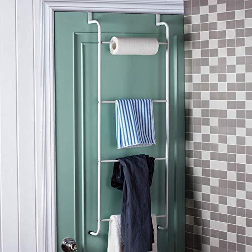 Towel Rack Bathroom Towel Rail Storage Shelf Four-Layer Creative Bathroom Door Towel Holder Bathroom Door Four-Layer Creative Bathroom Door Towel-Free Nail-Free Hanging Clothes White