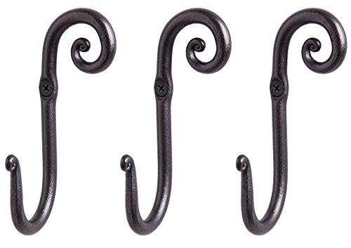 RTZEN Decorative Stylish Wall Mounted Hooks 3 Handmade Wrought Iron Right Swirl Hangers for Coat Hat Jacket Robe Bath Towel  Mug Hooks  Black Scroll Hangers  Handcrafted Décor