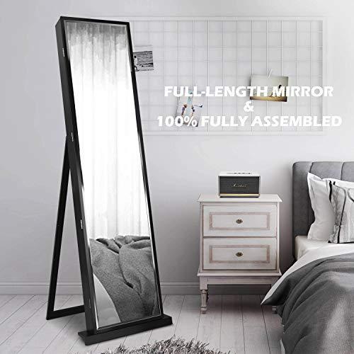 FUNKOCO 79 LED Jewelry ArmoiresJewelry Storage CabinetsStanding Wall Jewelry Organizer with Full Length Mirror-Black