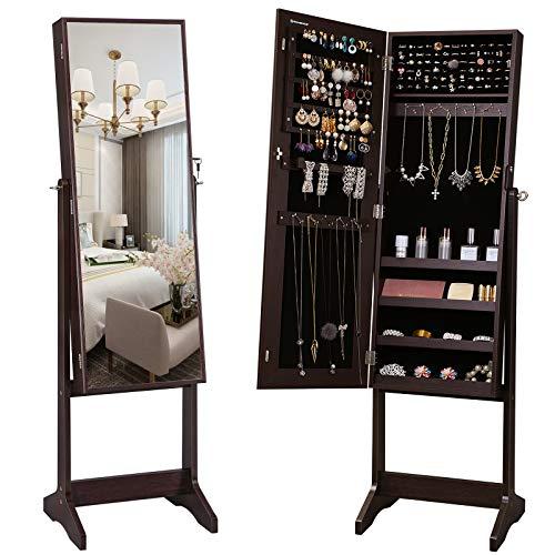SONGMICS Mirrored Jewelery Cabinet Armoire Free Standing Full Body Larger Mirror Jewelry Organizer Lockable Narrow Bezel Brown UJJC69BR