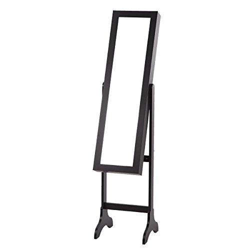 FDW Lockable Mirrored Jewelry Cabinet Armoire Mirror Organizer Storage w Stand