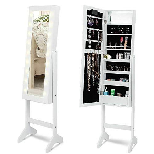 Stark Item Mirrored Jewelry Cabinet Armoire Organizer w 18 LED Lights White