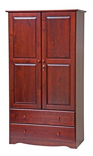 Palace Imports 5922 Smart Solid Wood WardrobeArmoireCloset in Mahogany