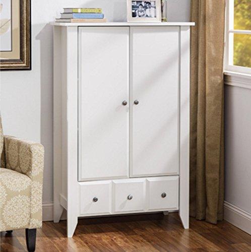 Wooden Wardrobe Armoire Brushed Metal Finish Hardware Two Adjustable Shelves Behind Doors