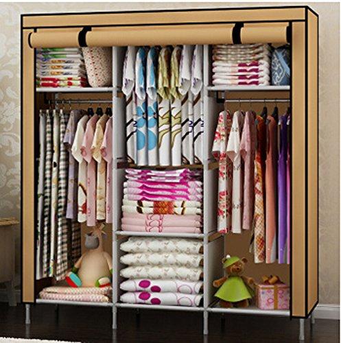 Generic New Portable Folding Clothes Bedroom Furniture Wardrobe Armoires Cabinet Closet Khaki