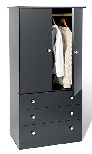 New 3 Drawer Wardrobe Dresser Chest Armoire - Black
