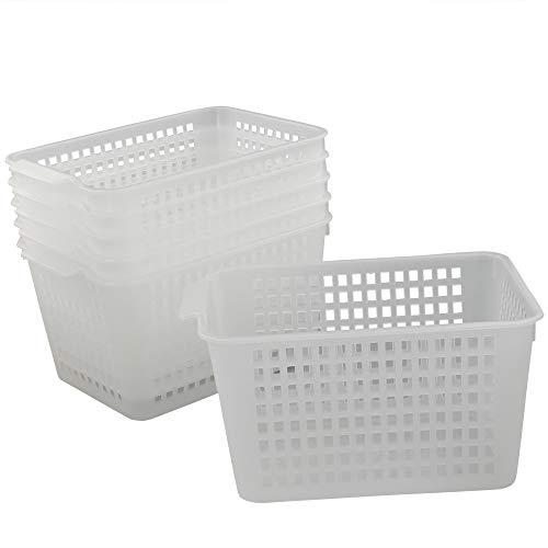 Qsbon Clear Plastic Storage BinsBasket Organizer for Home Bathroom Kitchen 6-Pack