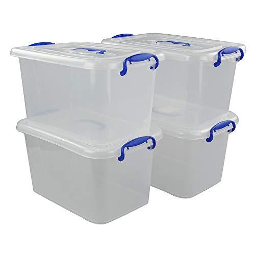 Vababa 6 Quart Clear Plastic Storage Box Latch Box with Blue Handle