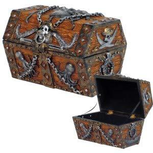 Gift2Smile Caribbean Kraken Octopus Pirate Haunted Chained Skull Treasure Chest Box Jewelry Box Figurine 5 L Superior Gift