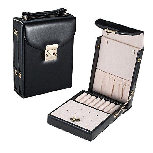 Jewelry Box Faux Leather Small Travel Jewelry Box Jewelry Organizer with Zipper black