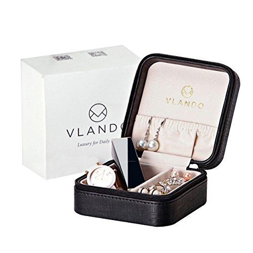 Vlando Small Travel Jewelry Box Christmas Packing Fabulous Christmas Gift Black