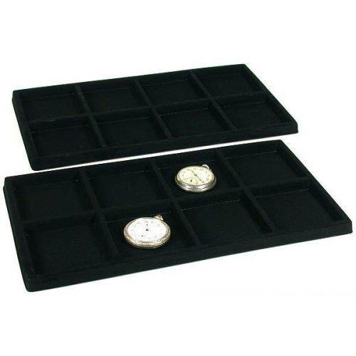 2 Black 8 Slot Pocket Watch Jewelry Display Case Tray Inserts